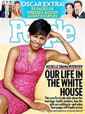 Michelle Obama trên bìa tạp chí People tháng 2/2009. Ảnh: