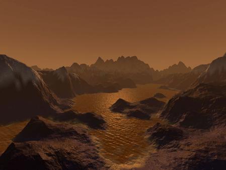 Ảnh minh họa hồ chứa chất lỏng trên bề mặt Titan. Ảnh: NASA.