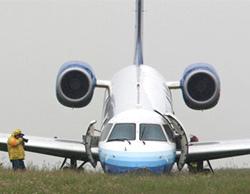 Máy bay cắm mũi xuống đất sau khi lao ra khỏi đường băng. Ảnh: