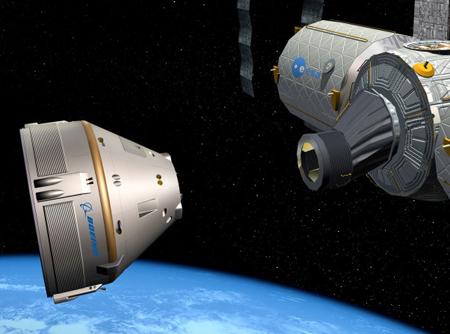 Hình minh họa phi thuyền CST-100 của Boeing chuẩn bị kết nối với ISS. Ảnh: Wired.