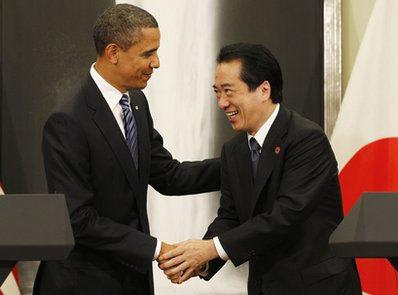 Tổng thống Mỹ Barack Obama và Thủ tướng nước chủ nhà Nhật Bản Naoto Kan. Ảnh: AP