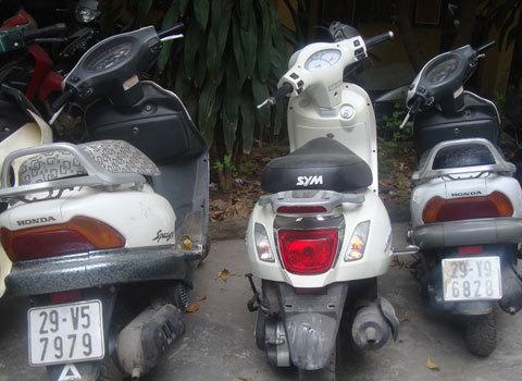 Một số chiếc xe tang vật mà cảnh sát thu được