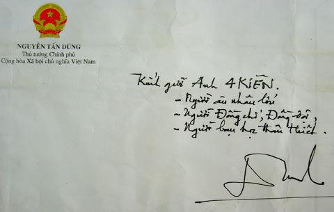Bì thư Thủ tướng gửi được Tư Kiên cất giữ cẩn thận xem như là một vật quý