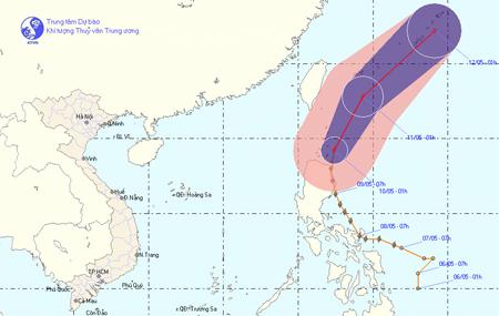 Đường đi của bão Aere. Đồ họa: Trung tâm dự báo khí tượng thủy văn
