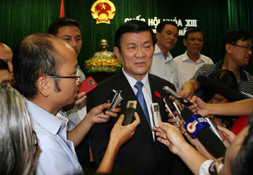 Chủ tịch nước Trương Tấn Sang trả lời báo chí. Ảnh: Tiến Dũng