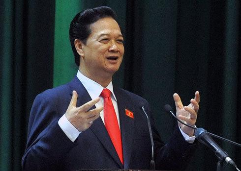 Thủ tướng Nguyễn Tấn Dũng trả lời chất vấn sáng nay. Ảnh: Hoàng Hà