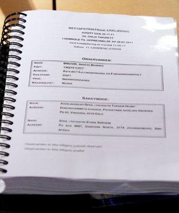 Bản báo cáo về tình trạng tâm lý của Breivik được công bố trong một cuộc bọp báo tại Oslo hôm nay. Ảnh: AFP