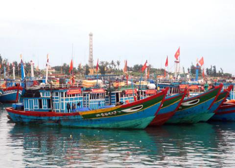 Tàu thuyền xa bờ đang neo đậu ở gần khu vực ngọn Hải đăng, xã An Hải, huyện đảo Lý Sơn(Quảng Ngãi). Ảnh: Trí Tín