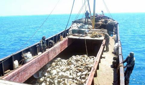 Tàu cá của Trung Quốc bị hải quân Philippines khám xét. Ảnh: AFP