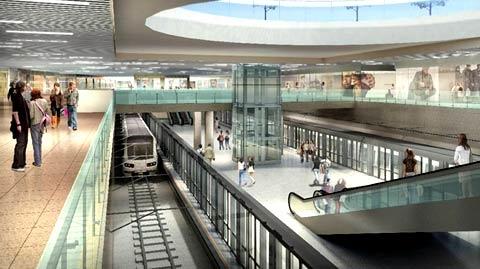 Phối cảnh khu mua sắm ngầm và nhà ga tuyến metro số 1 tại nhà ga trung tâm Bến Thành