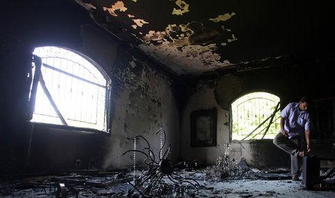 Lãnh sự quán Mỹ tại thành phố Benghazi tan tành sau khi bị các