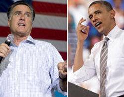 Các ứng viên tổng thống Mỹ, Romney và Obama. Ảnh: AP