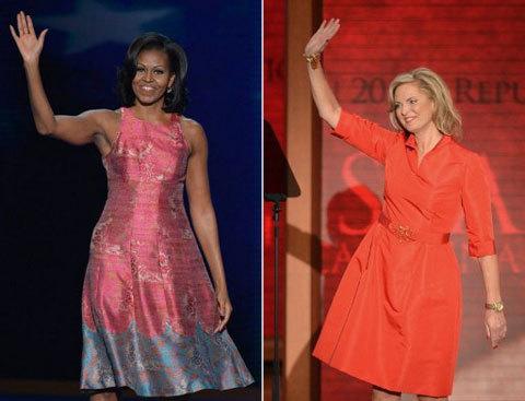 Đây là trang phục của hai phu nhân ở những thời khắc quan trọng với sự nghiệp của chồng họ, đại hội đảng Dân chủ và đại hội của đảng Cộng hòa.