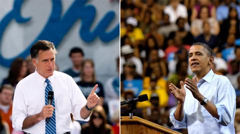Romney và Obama trong những cuộc vận động tranh cử. Ảnh: ABC News