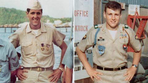 John Kerry năm 1969 (trái) và Chuck Hagel năm 198, trong thời gian tham chiến ở Việt Nam. Ảnh: AP