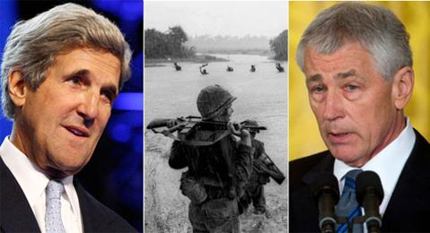 John Kerry và Chuck Hagel đều từng tham chiến ở Việt Nam, và cuộc chiến này đã in dấu ấn sâu đậm trong quan điểm của họ về chính sách và chiến tranh. Ảnh: Politico.