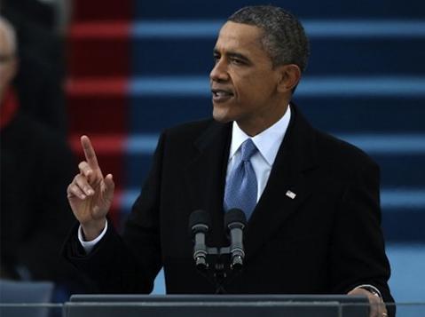 Obama phát biểu sau khi tuyên thệ nhậm chức ngày 21/1. Ảnh: AP