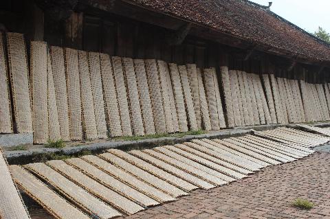 Bánh đa được phơi khắp sân đình.