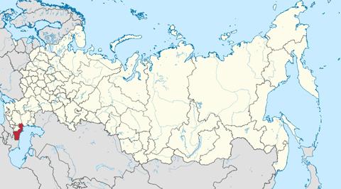 Vị trí của nước cộng hòa Dagestan (màu đỏ) trên bản đồ Nga. Dagestan thuộc vùng Bắc Kavkaz, nơi nhiều năm bị hoành hành bởi nạn khủng bố sắc tộc, chủ nghĩa ly khai.