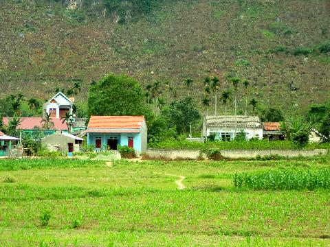 Ngôi làng dưới chân núi với những hàng cau quen thuộc