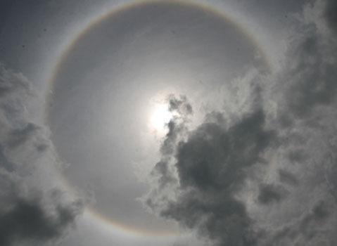 Năm ngoái tại Lào Cai cũng chứng kiến cảnh quầng mặt trời. Ảnh: Báo Lào Cai.