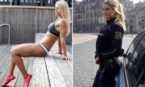 Người hâm mộ cầu xin được nữ cảnh sát nóng bỏng bắt giữ