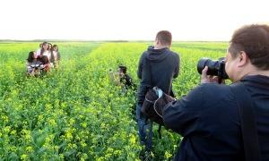 Du khách mê mẩn cánh đồng hoa cải vàng bên sông Hồng