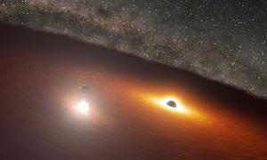 Cặp hố đen tạo ánh sáng mạnh hơn một nghìn tỷ ngôi sao