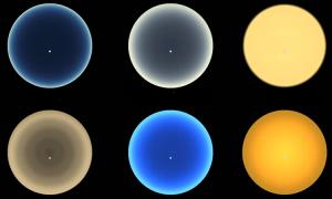 Màu hoàng hôn trên các thiên thể trong vũ trụ
