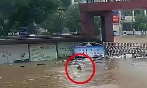 Cảnh sát bơi qua nước lũ kiểm tra trường học