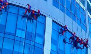 'Người nhện' lau kính tòa nhà