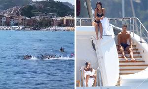 Người hâm mộ hát vang khi thấy Ronaldo trên du thuyền