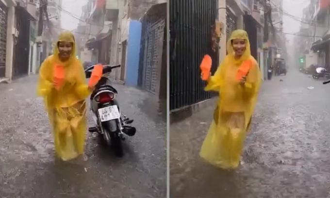 Cô gái nhảy tưng bừng dưới mưa
