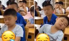 Bé trai không cưỡng lại được cơn buồn ngủ