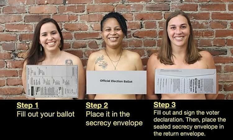 Nữ chính trị gia để ngực trần nhắc cử tri bỏ phiếu đúng luật