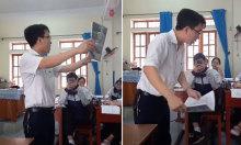 Thầy giáo dạy học trò vẩy rau đúng cách