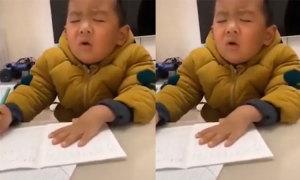 Bé trai ngủ gật khi học bài