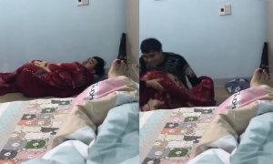 Chồng vội nhảy lên giường vì bị vợ dọa