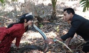 Chụp ảnh cưới với rắn hổ mang