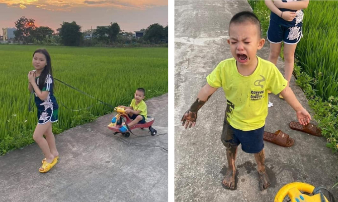 Cậu bé lấm lem bùn đất vì ngã xuống ruộng