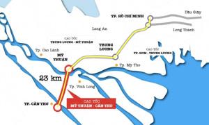 Cao tốc Mỹ Thuận - Cần Thơ chậm tiến độ do thiếu cát