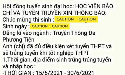 Học viện Báo chí và Tuyên truyền bị giả mạo thư trúng tuyển