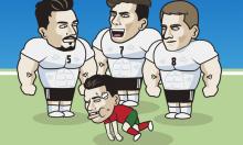 Ronaldo 'bầm dập' khi đọ sức tuyển Đức