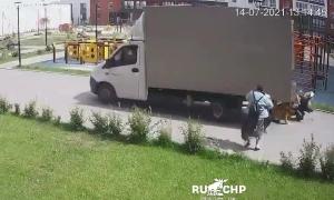 Xe tải lùi chèn qua cô gái đang đẩy xe nôi