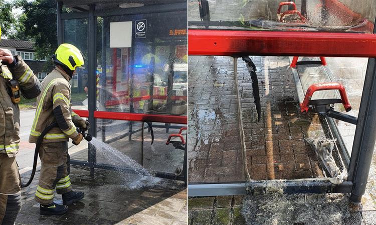 Trạm xe buýt ở Anh bốc cháy dưới nắng nóng